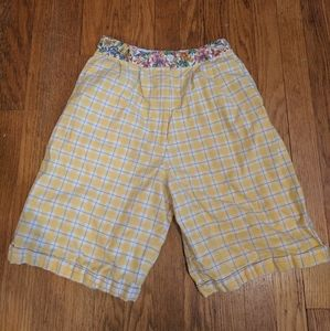 80s Yellow Floral/Plaid Shorts